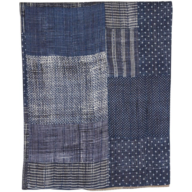 2010s Indian Indigo Quilted Cotton Bedcover For Sale - Image 5 of 5