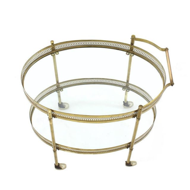 Mid-Century Modern Oval Pierced Brass & Glass Two-Tier Tea Serving Cart on Wheels For Sale - Image 3 of 8