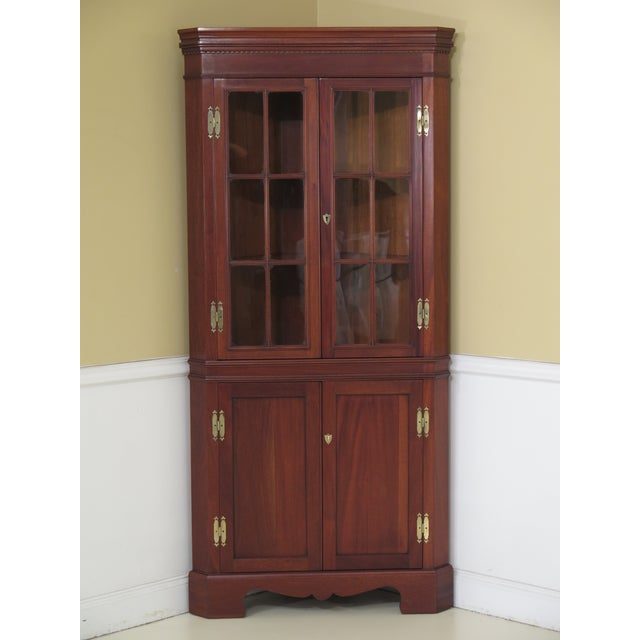 1990s Chippendale Craftique Solid Mahogany Corner Cabinet For Sale - Image 11 of 11