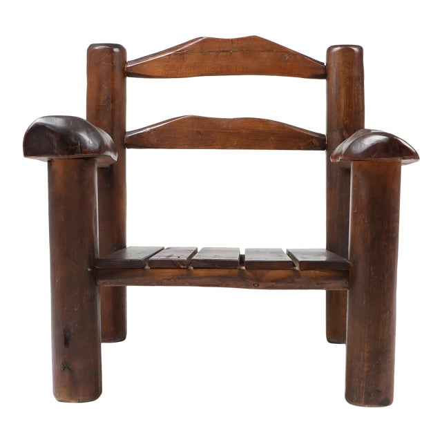 1950s Rustic Wooden Wabi Sabi Lounge Chairs For Sale