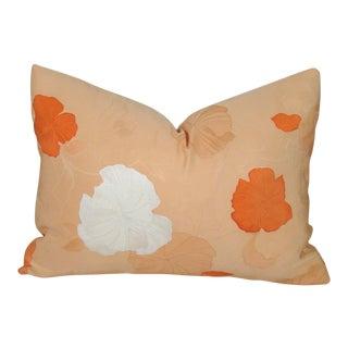 Apricot Floral Vintage Japanese Kimono Pillow Cover