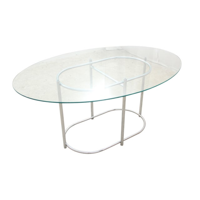 Chrome & Glass Dining Table - Image 1 of 6