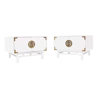 20th Century Campaign Square White Lacquer End Tables - a Pair For Sale