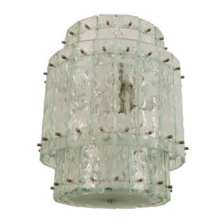 Italian 1940s Acid Etched and Textured Glass Panel Round Tiered Lantern For Sale