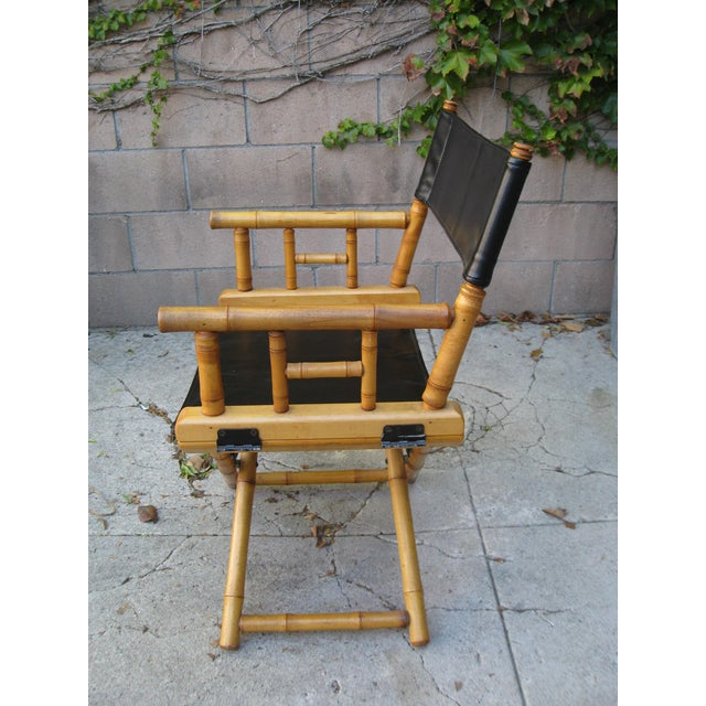 Mid-Century Modern 1960s Vintage Bamboo & Leather Folding Director's Chair For Sale - Image 3 of 11