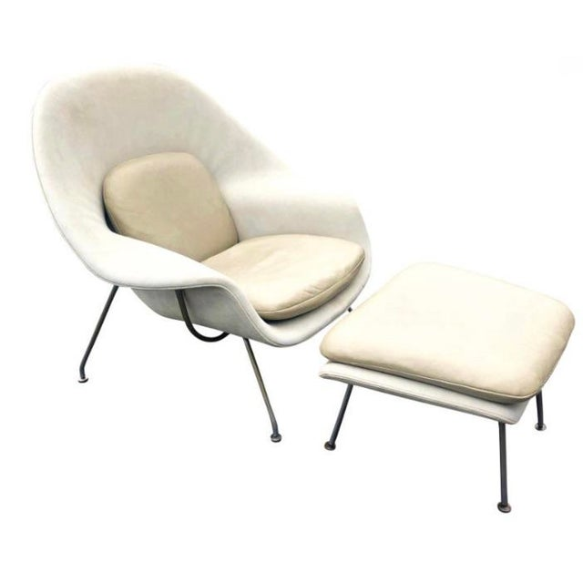 1960s Eero Saarinen Leather Womb Chair and Ottoman Knoll For Sale - Image 11 of 11