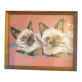 1970s Vintage Paint by Numbers Siamese Cats Painting For Sale