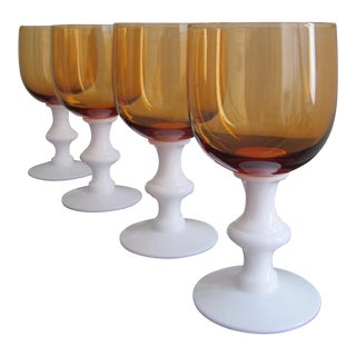 Portieux Vallerysthal Amber & White Goblets - Set of 4