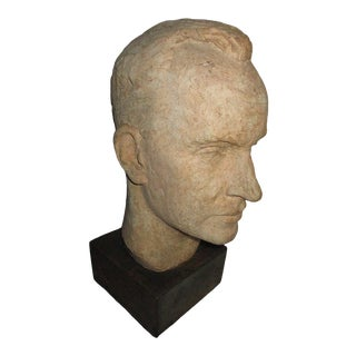 1950s Bust of Man on Wood Base by Dorothy Riester For Sale