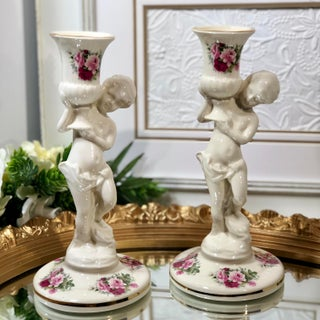 1960s Maryleigh Pottery Ceramic Porcelain Cherub Candlestick Vintage - a Pair Preview