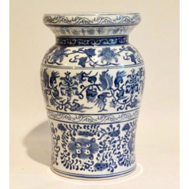 Blue Blue and White Ceramic Garden Stool For Sale - Image 8 of 9