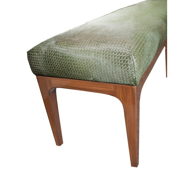 Walnut Bench With Laser Cut Cowhide Upholstered Seat For Sale In New York - Image 6 of 7