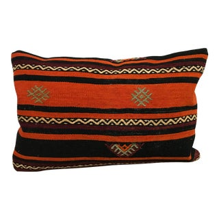 Vintage Striped Design Turkish Anatolian Kilim Pillow Cover For Sale