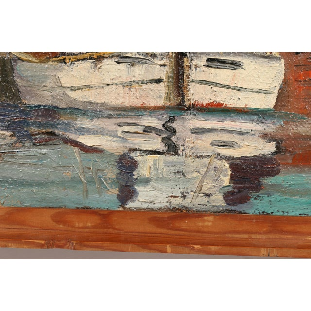 Impressionism Danish Oil Painting 'Sails up in Copenhagen Harbor' For Sale - Image 3 of 3