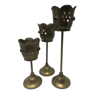 Bejeweled Brass Candle Holders - Set of 3 For Sale