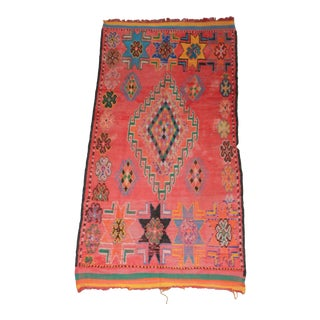 1940s Vintage Moroccan Rug - 5′3″ × 10′7″ For Sale