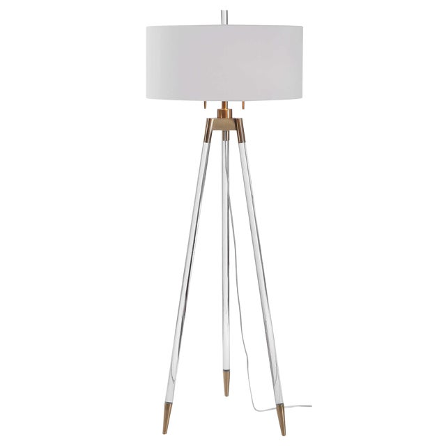 Lucite and Brass Tripod-Style Floor Lamp with White Shade For Sale
