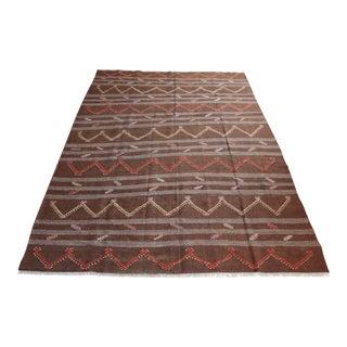 Vintage Handmade Brown Tone Floor Kilim Rug For Sale