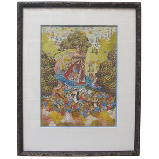 """1960s Balinese """"Ubud Village Figures"""" Signed Painting For Sale"""