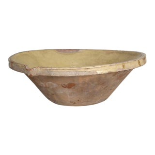 Antique English Pancheon Earthenware Bowl For Sale