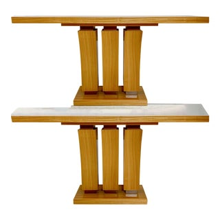 Pair of Art Deco Style Satinwood Console Tables For Sale