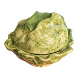Image of Ceramic Large Cabbage Green Soup Tureen For Sale