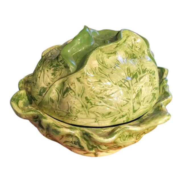 Ceramic Large Cabbage Green Soup Tureen For Sale