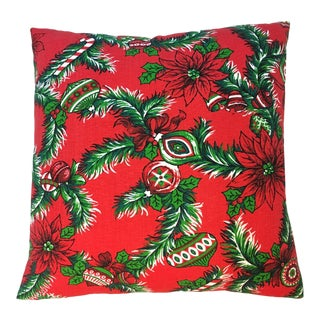"""18"""" Christmas Pillow Newly Made Vintage OldStock Fabric - Ornaments and Holly For Sale"""