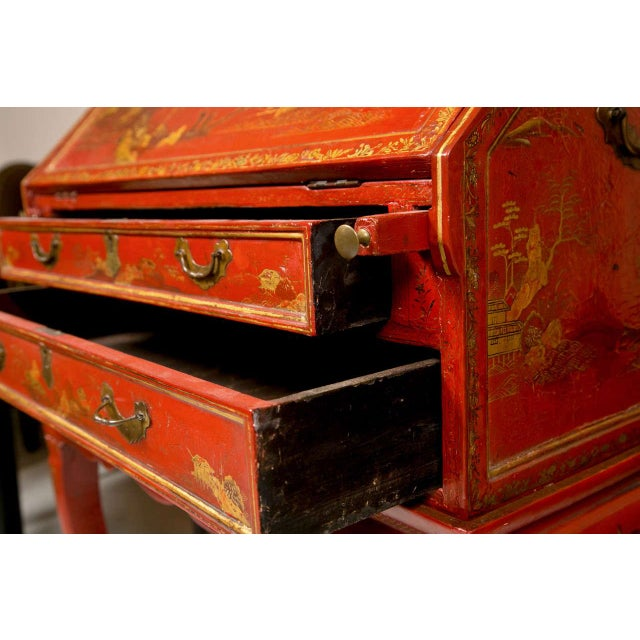 Red Antique 19th Century Painted Chinoiserie Vanity For Sale - Image 8 of 10