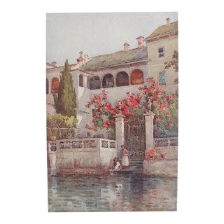 1905 Original Italian Print - Italian Travel Colour Plate - a Villa Garden, Lago d'Orta For Sale