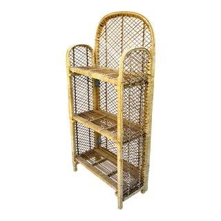 Vintage Woven Rattan Bamboo Freestanding Shelving Unit
