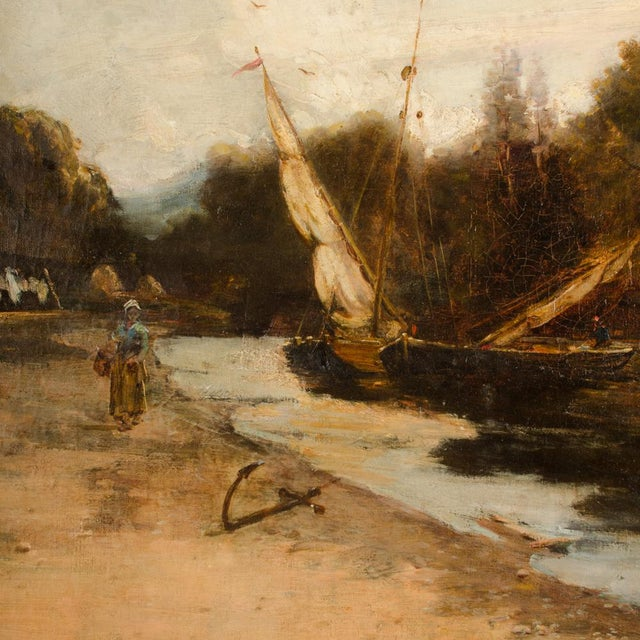 "Late 19th Century ""On the Canal"" Coastal Oil Painting For Sale In Philadelphia - Image 6 of 13"