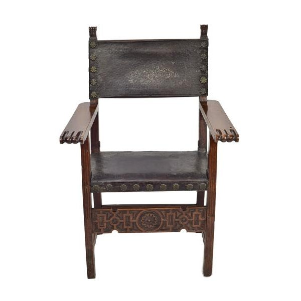 17th century Spanish Friar's chair. It is highly styled chair especially for a friar chair. This walnut chair has its...