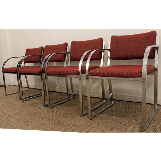 Mid-Century Modern Milo Baughman Style Chrome Dining Chairs - Set of 4 - Image 5 of 10