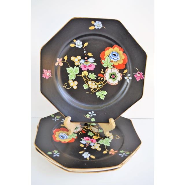 1920s Antique Art Deco Black and Floral Plates - Set of 4 For Sale - Image 11 of 12