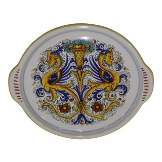 Late 20th Century Deruta Ceramics Ricco Hand Painted Platter For Sale
