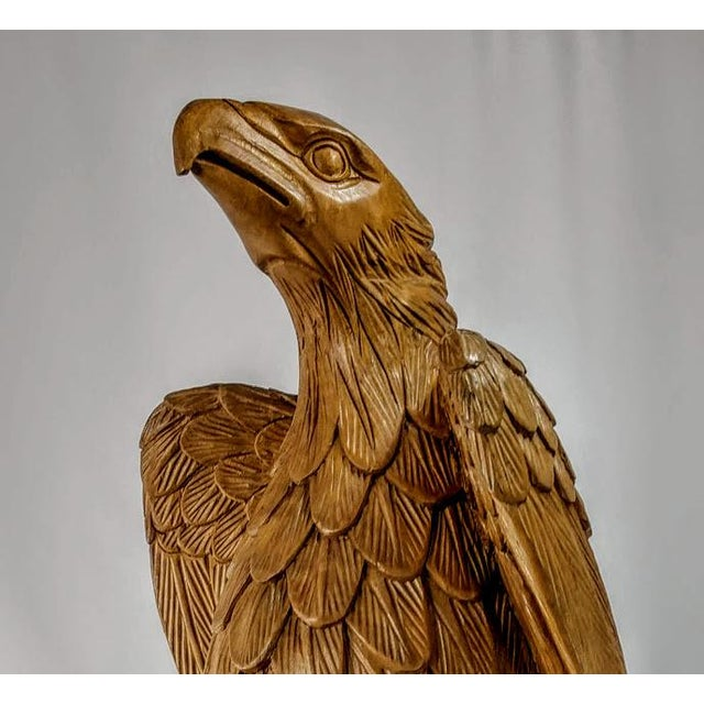Superb Vintage Life Size 34 in Tall Golden Eagle Statue Hand Carved From One Piece of Wood For Sale - Image 10 of 13