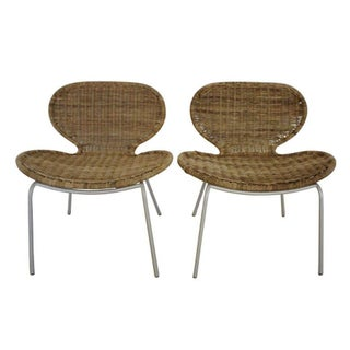 French Mid-Century Modern Rattan Chairs - A Pair