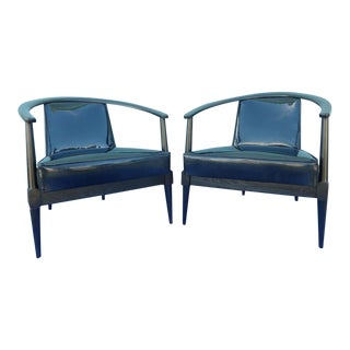 Mid Century Modern Danish Style Black Ceruse Sculptural Chairs For Sale
