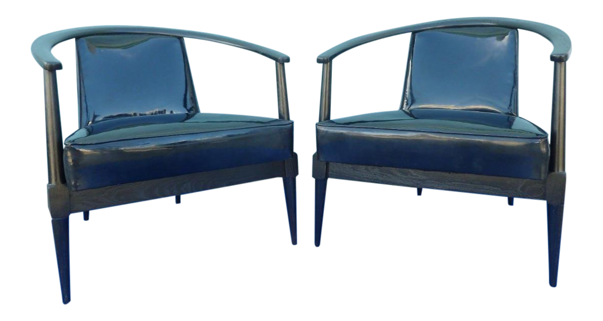 Mid Century Modern Danish Style Black Ceruse Sculptural Chairs