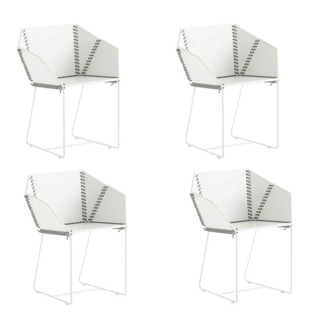 Gandia Blasco Baseball Stitch Marine Grade Patio Dining Chairs - Set of 4 For Sale - Image 10 of 10