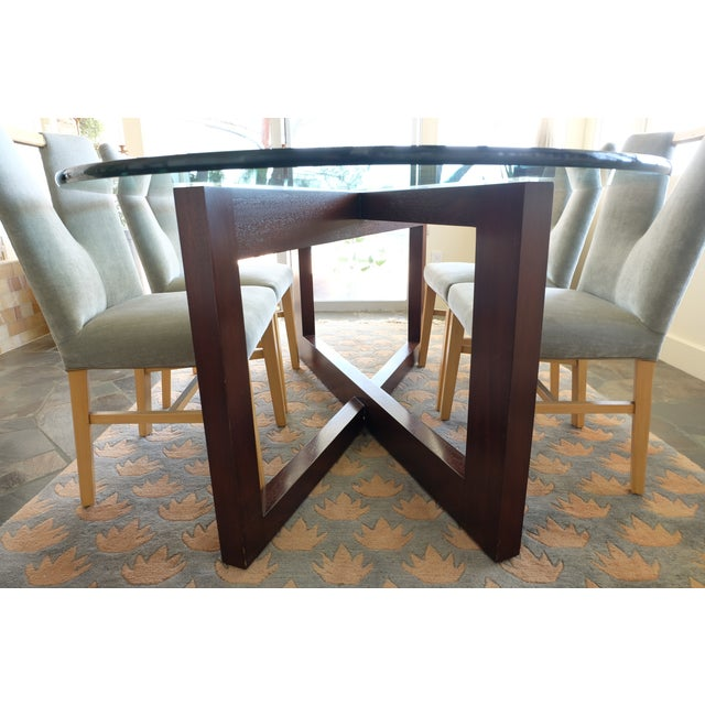 Contemporary Glass & Mahogany Dining Table - Image 3 of 7