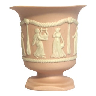 Vintage Pink Jasperware Allegorical Vase For Sale