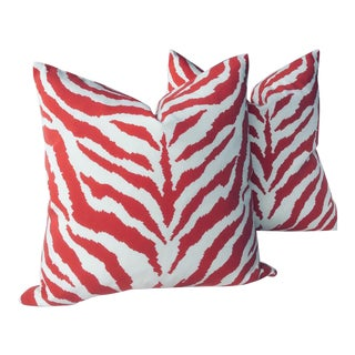 "Contemporary Clarence House Indoor or Outdoor Pillows in ""Od Zebra"" - a Pair"
