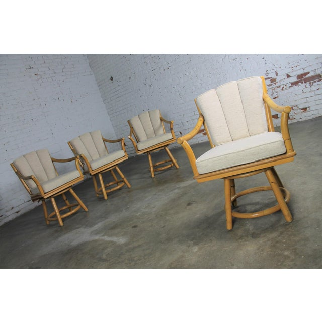 Mid-Century Ficks Reed Co. Round Rattan Game Table & Chairs - Image 5 of 11