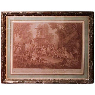 18th Century Antique French Engraving, Le Jeu De Colin Maillard, After Nicolas Lancret For Sale