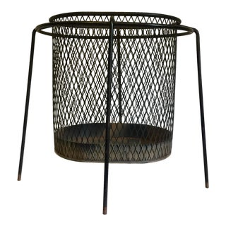 Mid-Century Maurice Duchin Iron Mesh Wastebasket For Sale