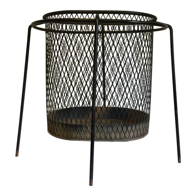 Mid-Century Maurice Duchin Iron Mesh Wastebasket For Sale