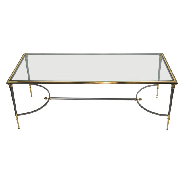 Maison Charles Maison Charles Brass and Chrome Coffee Table For Sale - Image 4 of 7