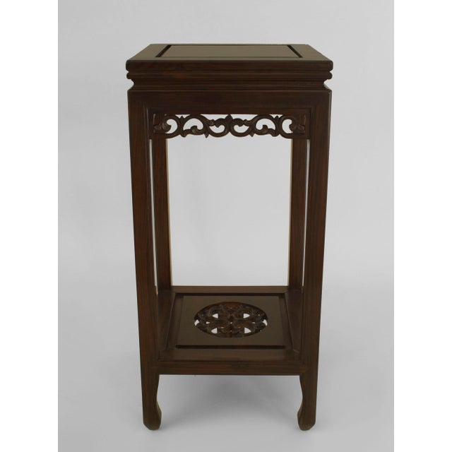 Asian Asian Chinese Rosewood Pedestals- a Pair For Sale - Image 3 of 6